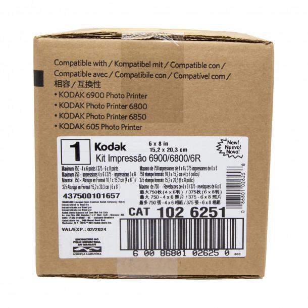 Conjunto Papel/Fita 6R Kodak 605/6900 para até 750 cópias 10x15 ou 375  cópias 15x20