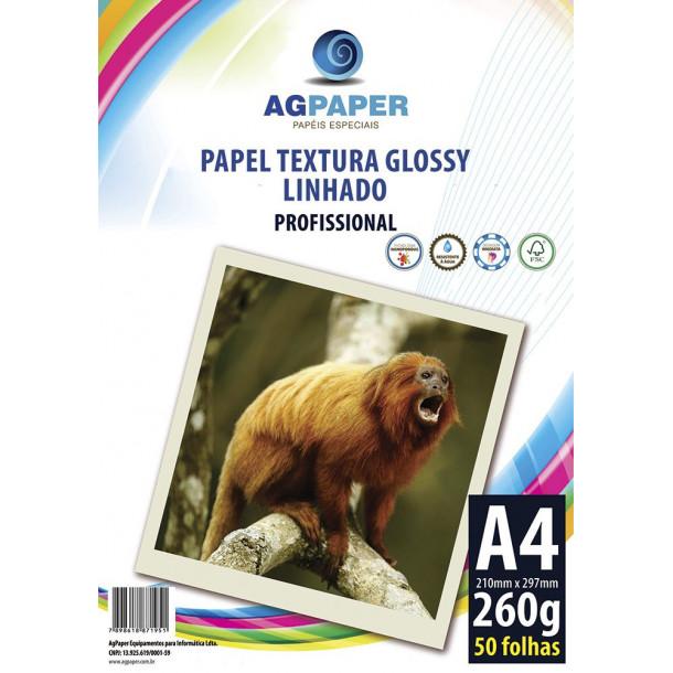 AGPAPER Textura Glossy Linhado A4 260GSM c/50 folhas