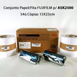 Conjunto Papel/Fita Fujifilm p/ ASK2500 - 546 Cópias 15X23cm