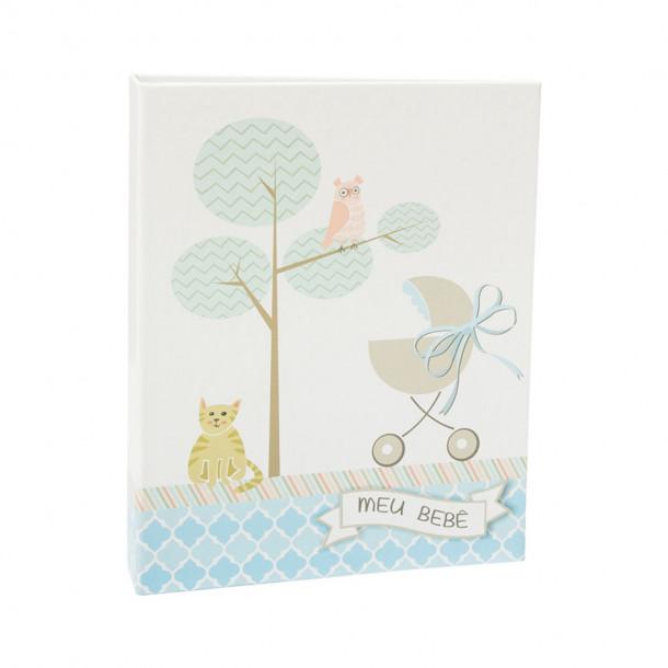Álbum do Bebê 60 Fotos 15x21 c/Luva - Ferragem  – menino - 48 gato e carrinho do bebê