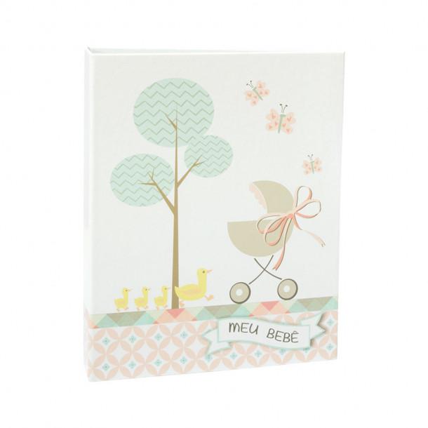 Álbum do Bebê 60 Fotos 15x21 c/Luva - Ferragem  – menina - 49 patinhos e carrinho de bebê