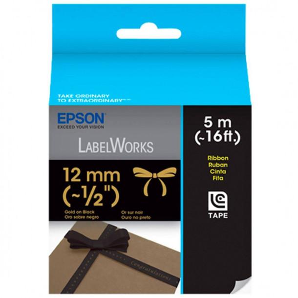 Fita Epson LC-4BKK5 12mm x 5mt Dourado em tecido preto