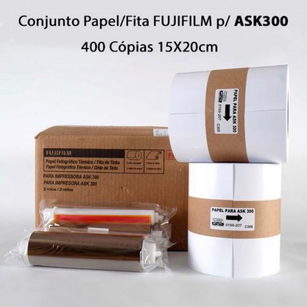 Conjunto Papel/Fita Fujifilm p/ ASK300 - 400 Cópias 15X20cm