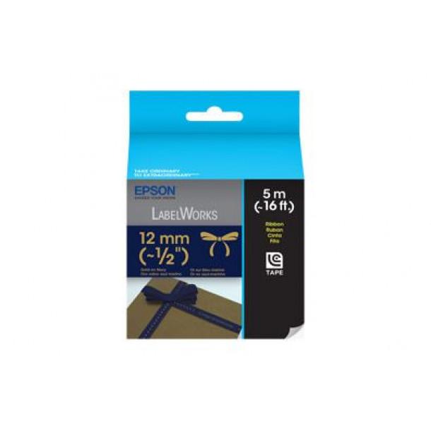 Fita Epson LC-4HKK5 12mm x 5m Dourado em tecido Azul Marinho
