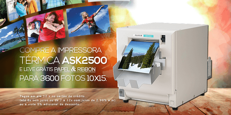 Compre a impressora térmica ASK2500 e leve grátis papel e ribbon para 3600 fotos 10x15
