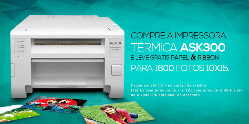 Compre a impressora térmica ASK300 e leve grátis papel e ribbon para 1600 fotos 10x15